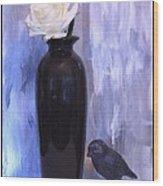 Birdie And The Rose Wood Print