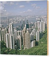 Birds Eye View Over Hong Kong Wood Print