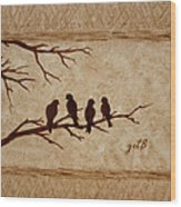 Birds Vintage Photo Beer Painting Wood Print