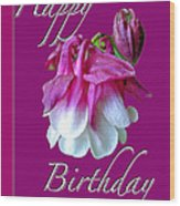 Birthday Greeting Card - Columbine Flower Wood Print