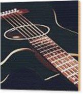 Black Acoustic Guitar Wood Print