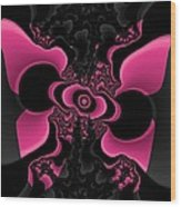 Black And Pink Fractal Butterfly Wood Print
