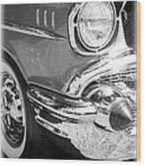 Black And White 1957 Chevy Wood Print