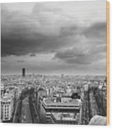 Black And White Aerial View Of An Overcast Sky Above The Eiffel Tower Wood Print by Stockbyte