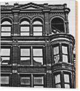 Black And White Brick Apartment Building Wood Print