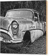 Black And White Buick Wood Print