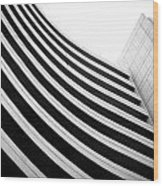 Black And White Building Curve Shape  Wood Print
