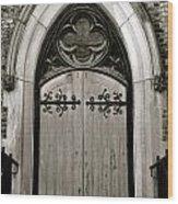 Black And White Doorway Wood Print