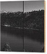 Black And White Emerald Bay Panorama Wood Print