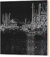 Black And White Fishing Boats Wood Print