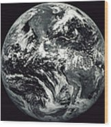 Black And White Image Of Earth Wood Print