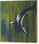 Black and white koi Wood Print