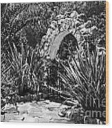 Black And White Mexican Patio With Stone Arbor San Diego California Usa Wood Print