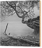 Black And White Mystic Lake Wood Print
