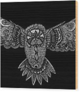 Black And White Owl Wood Print