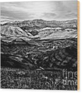 Black And White Painted Hills Wood Print
