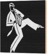Black And White Saxophone Wood Print
