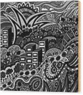 Black And White Seaside Wood Print