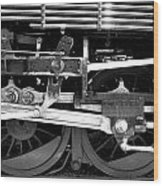 Black And White Steam Engine - Greeting Card Wood Print