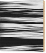 Black And White Striped Wave Pattern Wood Print
