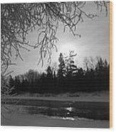 Black And White Sunrise Wood Print