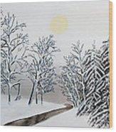 Black And White Woods Wood Print