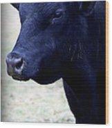 Black Angus Bull - Side Profile Wood Print by Tam Graff