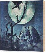 Black Bird Landing On A Branch In The Moonlight Wood Print