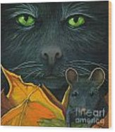 Black Cat And Mouse Wood Print by Linda Apple