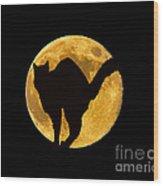 Black Cat Moon Wood Print