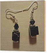 Black Cube Drop Earrings Wood Print