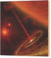 Black Hole & Red Giant Star Wood Print