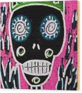 Black King Sugar Skull Angel Wood Print