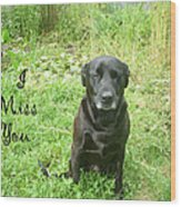 Black Lab Miss You Wood Print