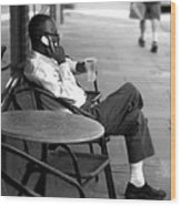 Black Man Relaxing On Sidewalks Of Asheville Wood Print