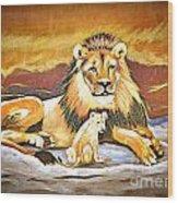 Black Maned Lion And Cub Wood Print