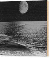 Black Night At The Shore Wood Print