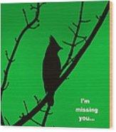 Black  On Green Wood Print