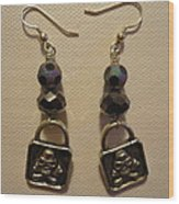 Black Pirate Earrings Wood Print by Jenna Green