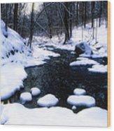 Black River Winter Scenic Wood Print