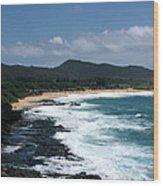 Black Rocks On The Beach Wood Print