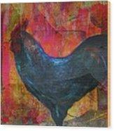 Black Rooster Wood Print