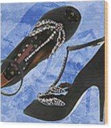 Black Satin And Crystal Dragonfly Pumps Wood Print