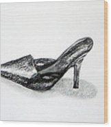 Black Shoe Wood Print