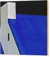 Black White And Blue Wood Print