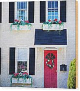 Black Window Shutters With Flowers Wood Print