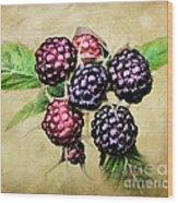 Blackberries Portrait Wood Print