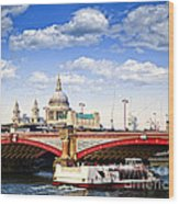 Blackfriars Bridge And St. Paul's Cathedral In London Wood Print