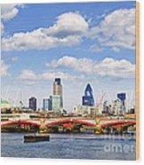 Blackfriars Bridge With London Skyline Wood Print