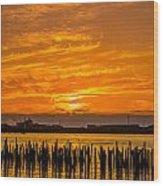 Blazing Humboldt Bay Sunset Wood Print